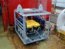 small ROV in launch cage